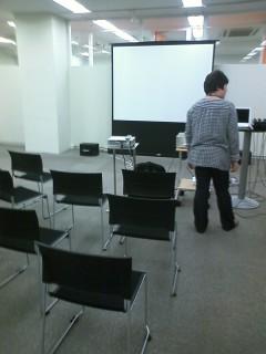 会場の準備中